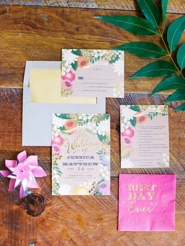 Colorful Floral Wedding Invites by Minted | Perry Vaile Photography via Every Last Detail