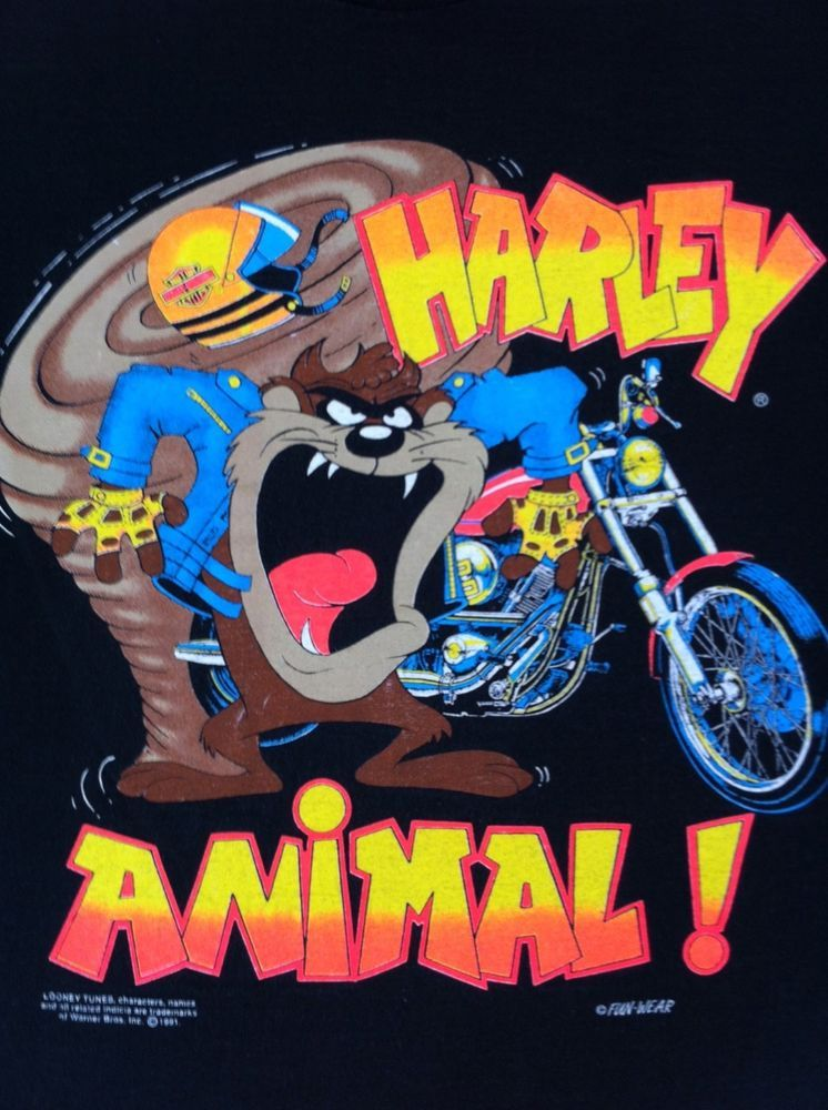 Harley Davidson Looney Tunes Taz Devil Animal Small Black