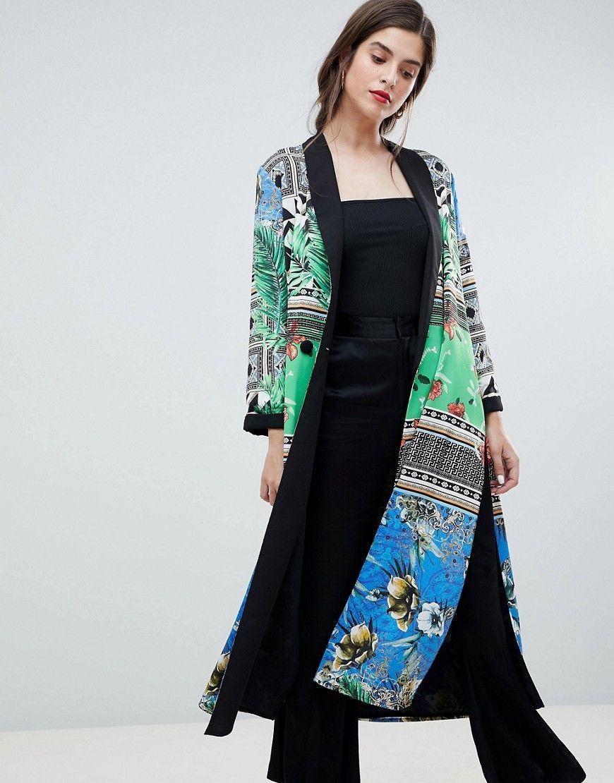 dc2027d07b5 Damen River Island Premium Kimono mit seitlichem Schlitz und Schal-Print