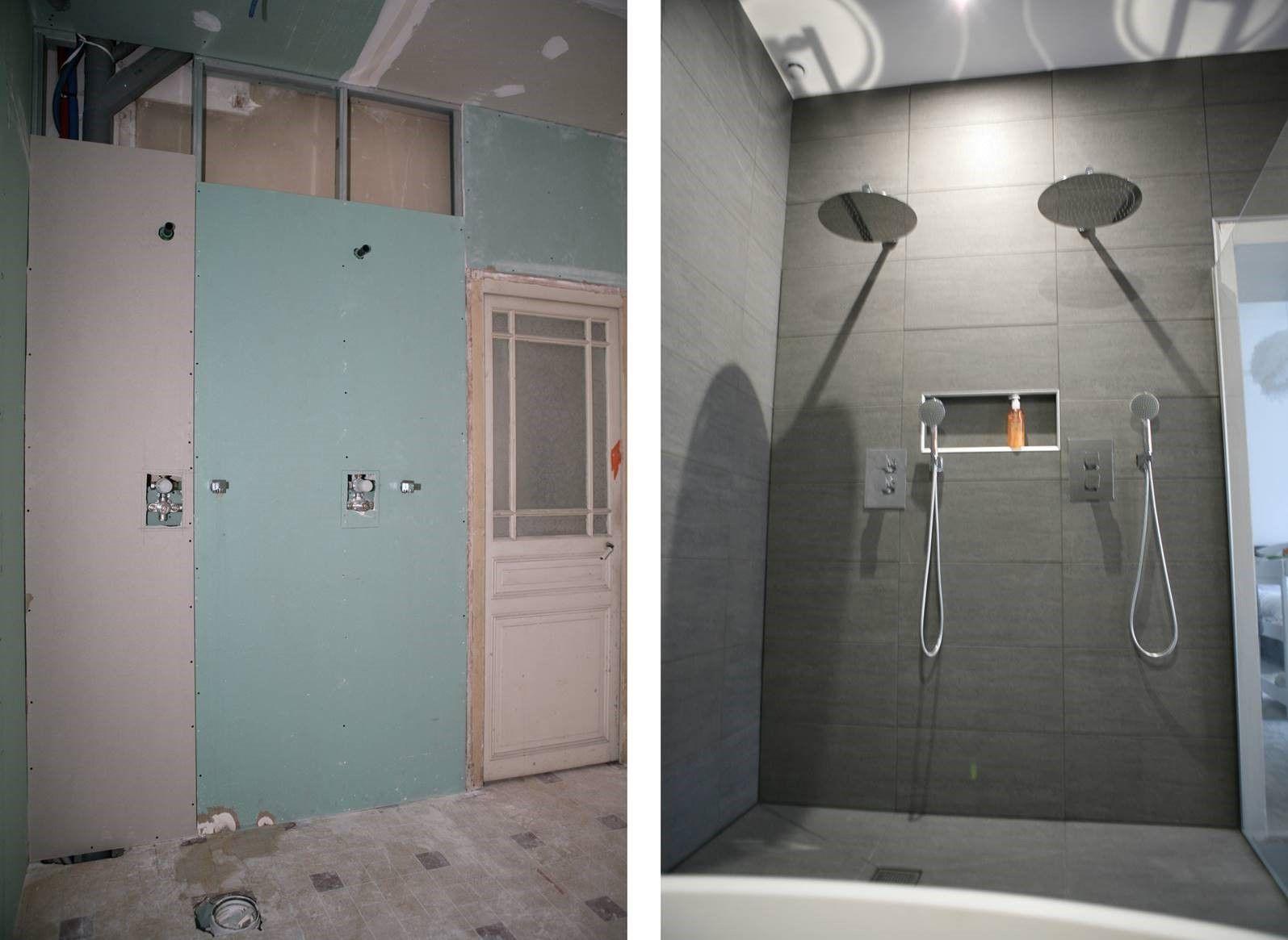 Avant apr s double douche l 39 italienne magnifique r novation d 39 une salle de bain avec des - Douche double italienne ...