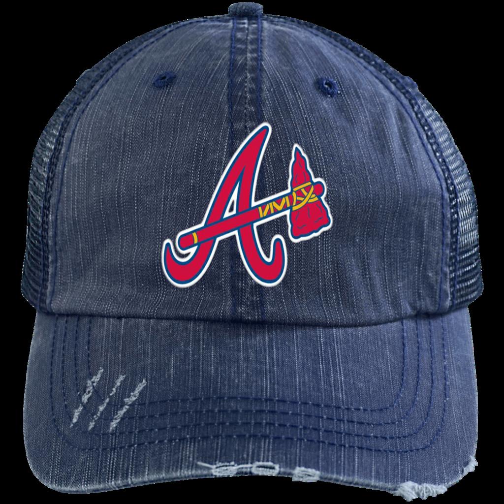 Official Atlanta Braves Classic A Logo Distressed Unstructured Trucker Cap Atlanta Braves Trucker Cap Braves