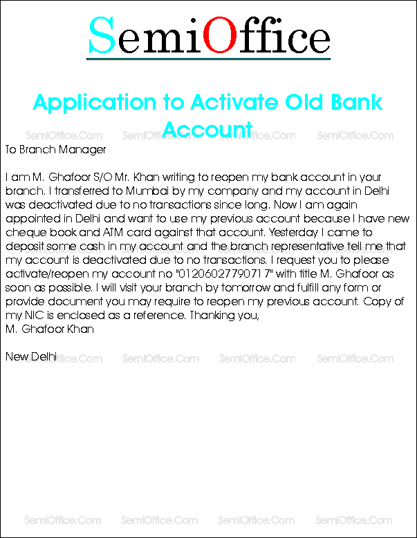 Application Activate Old Bank Account Have Lost Sim Card How Write