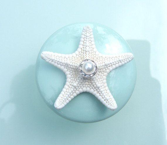 Delightful Knobs   Sea Glass Mint Seashell Starfish Knobs With Swarovski Crystal And  Pearl Rhinestone