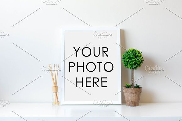 White Frame With Topiary & Diffuser | Mockup