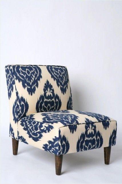 Charmant Indigo Ikat Slipper Chair   $329.00 Urban Outfitters