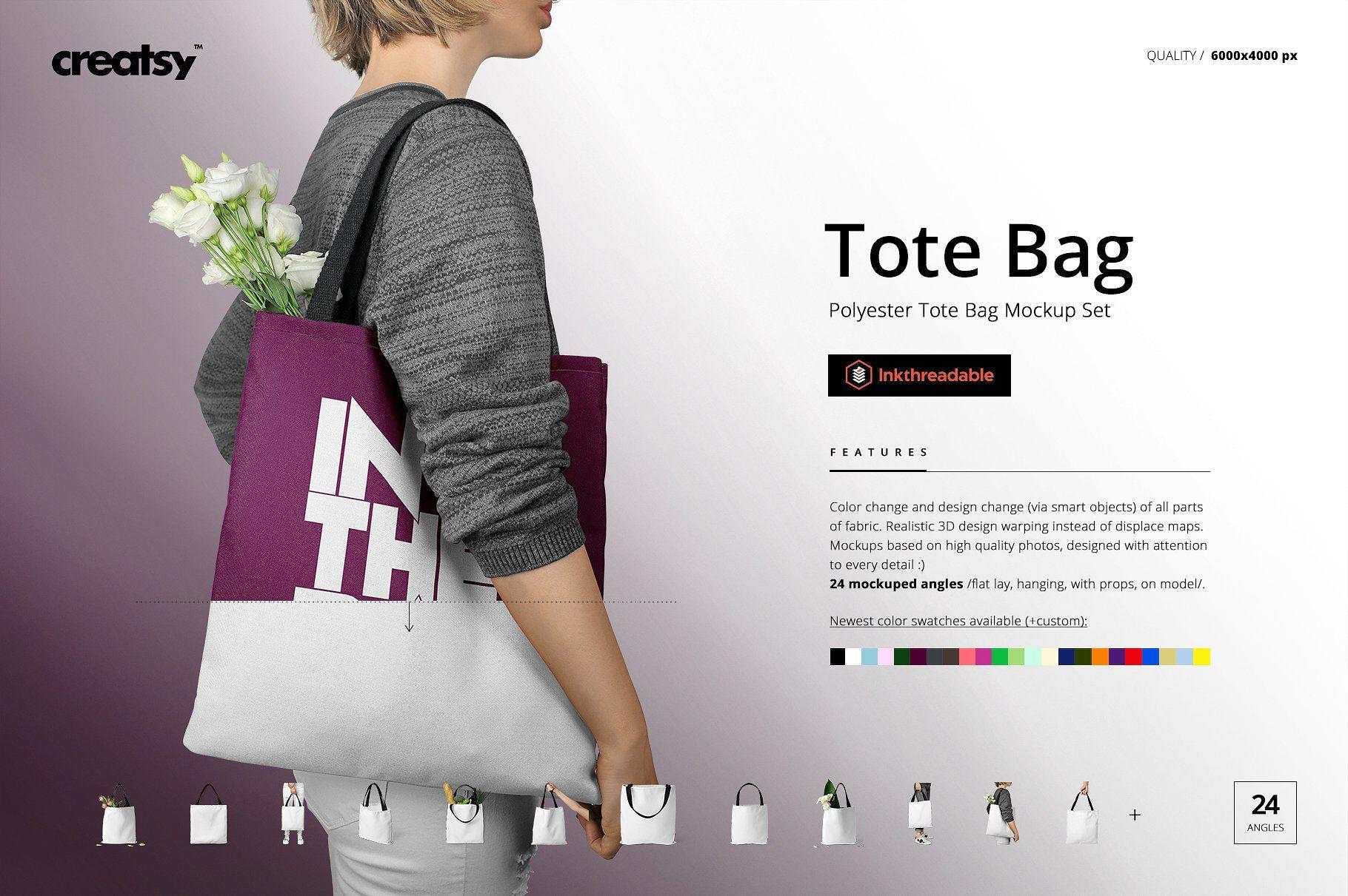 Download Polyester Tote Bag Mockup Set Bag Mockup Mockup Bags
