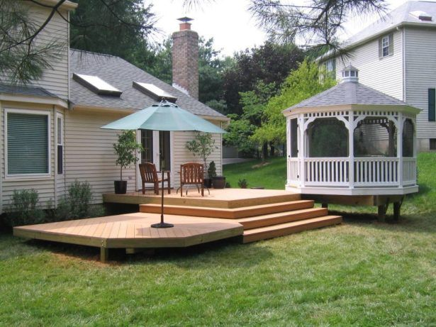 Outdoor: Raised Deck Ideas For Small Yard Design With Elegan White ...
