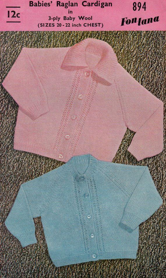 Vintage Baby Knitting Pattern Raglan Cardigan Two Patterns In One