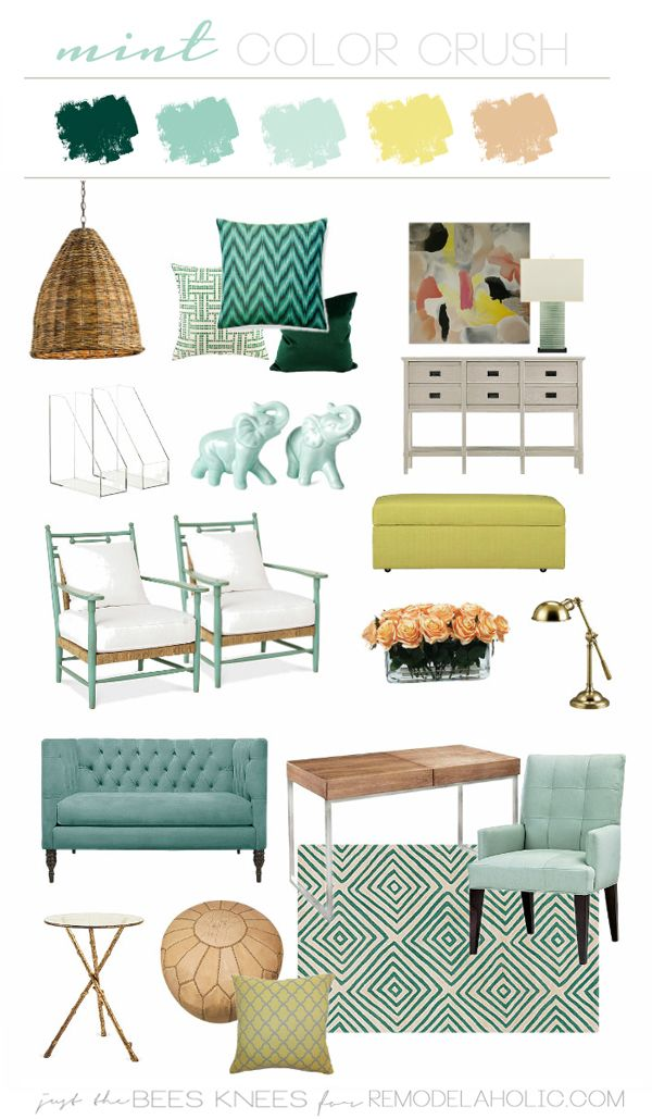 My Mint Green Color Crush And How To Create A Color Scheme Green Living Room Decor Mint Green Rooms Mint Green Furniture