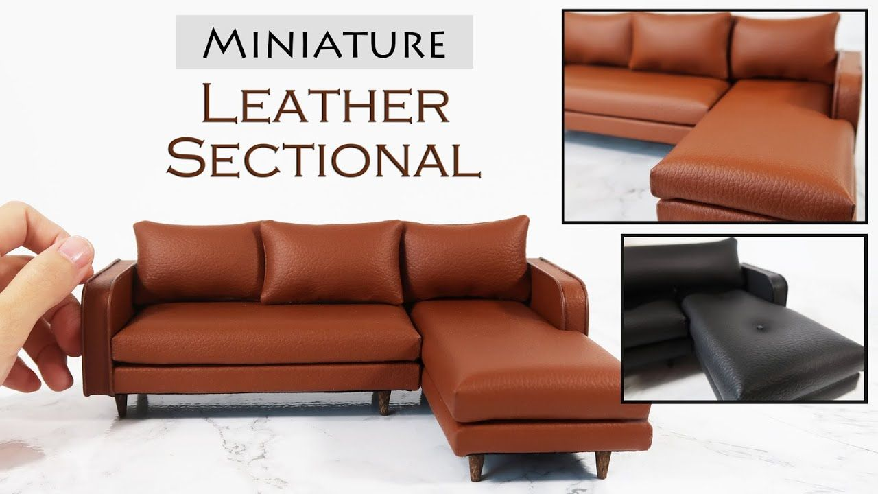 Diy Miniature Leather Couch In 2020 Leather Couch Diy Barbie Furniture Miniatures