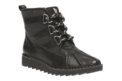 Clarks Olso Cove, Black Leather, Womens Casual Boots