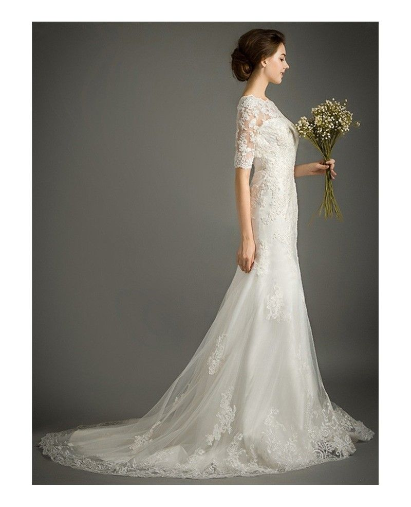 Best wedding dresses of all time  Feminine Mermaid Highneck Sweep Train Tulle Wedding Dress With