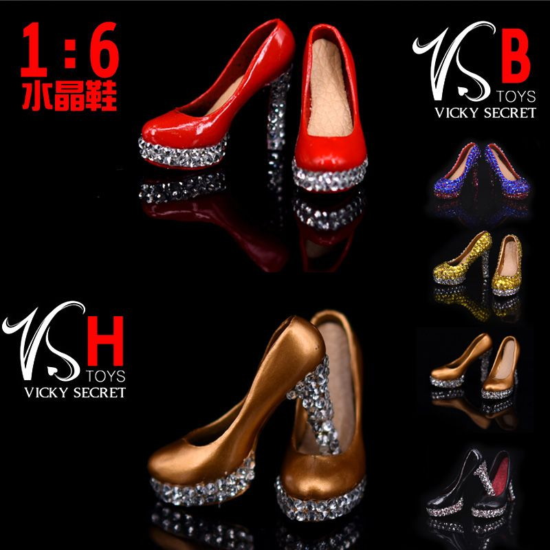 1//6 Scale Womens High Heeled Boots Model Shoes for 12/'/' Action Figure Accessory