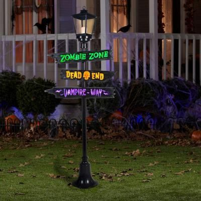 Lamp Post With Lighted Signs And Short Circuit   The Home Depot