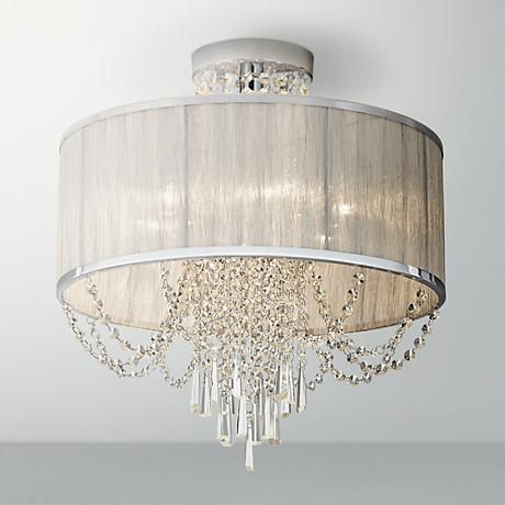 Ellisia 19 3 4 Quot W Silver Organza Shade Chrome Ceiling Light