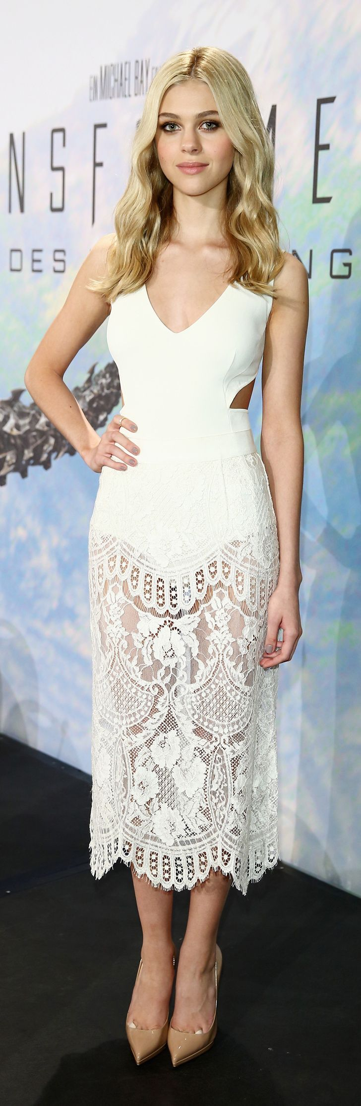 Nicola Peltz doubled down on cool, white Stella McCartney dresses when she wore her second of the week to the Berlin Transformers: Age of Extinction press conference.