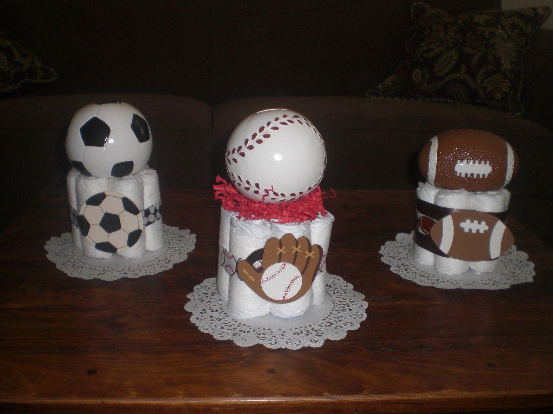 Wonderful Sports Diaper Cake Baby Shower Centerpiece Soccer Basketball Baseball  Football