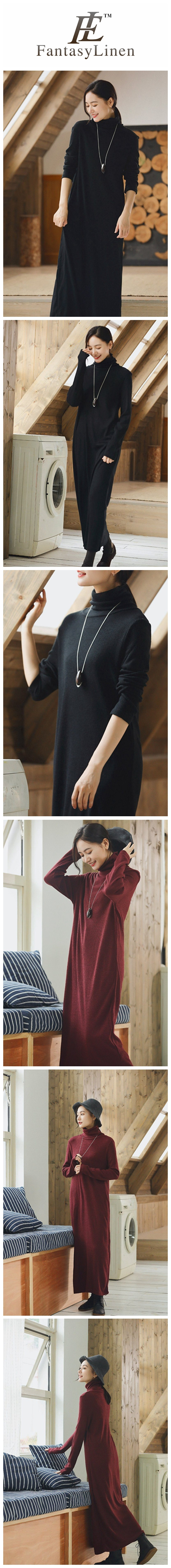 30a038cdf89 Turtleneck Wool Maxi Loose Woolen Dresses For Womens Pullover Long Sweater  Dress in Autumn Winter Q2491