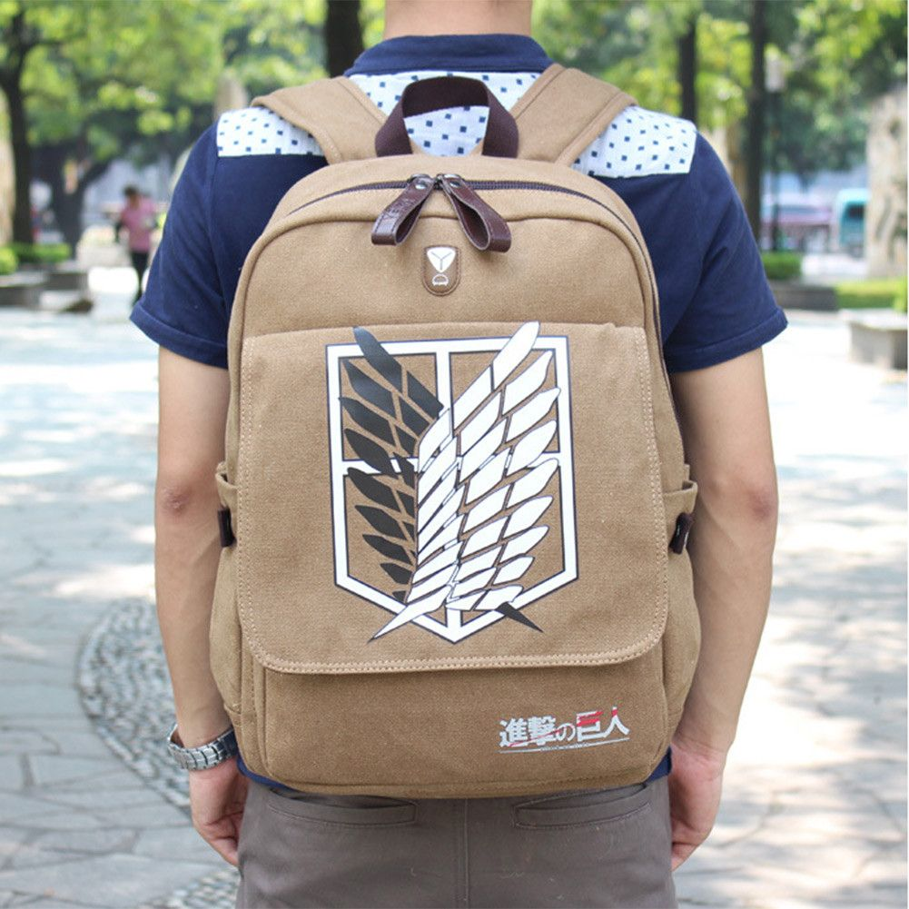 Shingeki No Kyojin! Grab the Attack On Titan Backpack made of canvas material on the outside. Comes with a convenient spot to slip your headphone cord through. This fabulous anime bag is great for dai