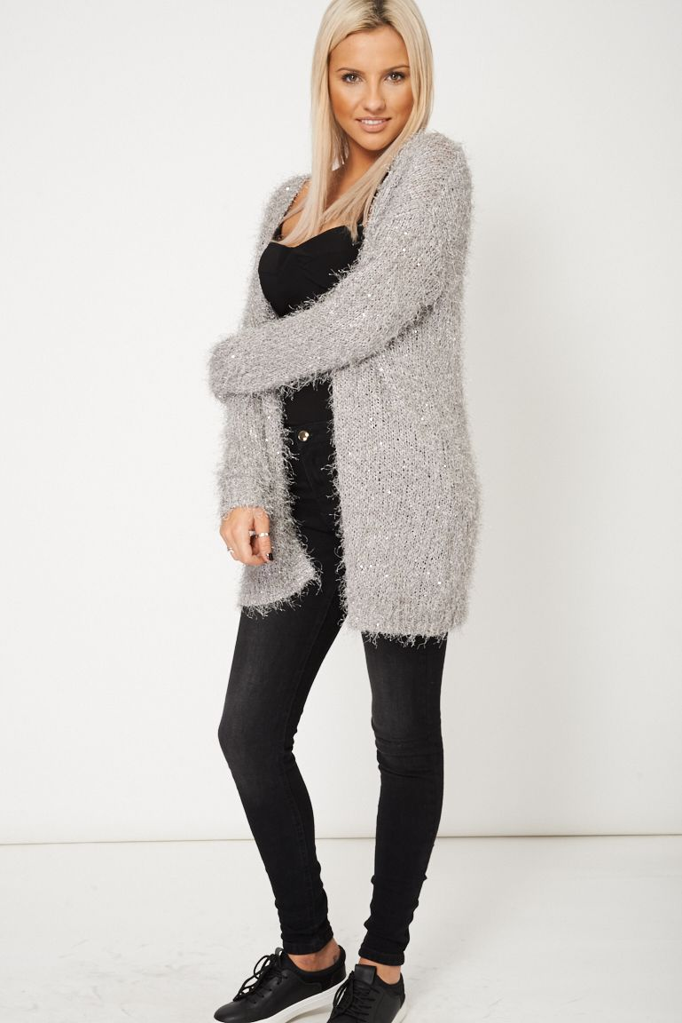 Details about Womens Ladies Outwear Grey Sequin Detailed Fluffy ...