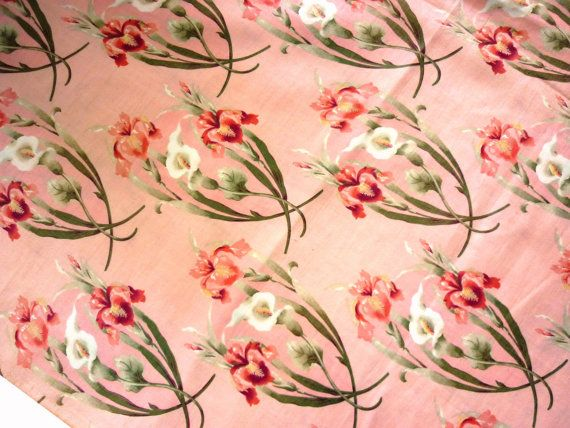 Vintage 1940s Floral Tropical Cotton Fabric In Iris And Calla Lily Print On Peach Entire 8 1 3 Yards X 35 Piece Floral Vintage Fabric Calla Lily
