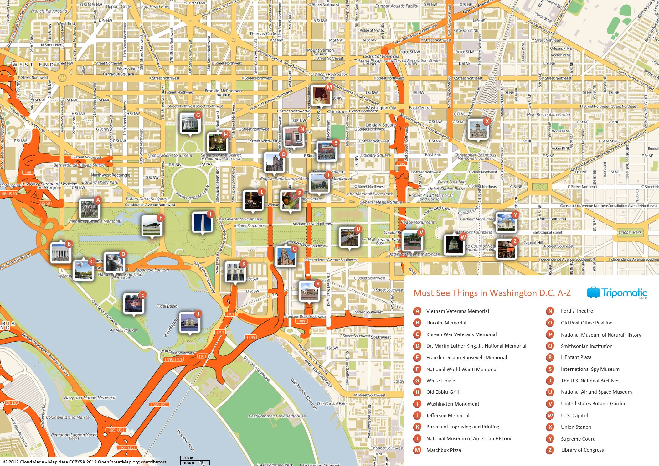 Free Printable Map Of Washington D C Attractions