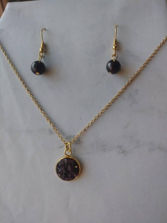 Photo of Natural garnet / stainless steel jewelry set / healing stones / earrings for women / chakra / gold / gifts under 20 / gift for her / birthstone January