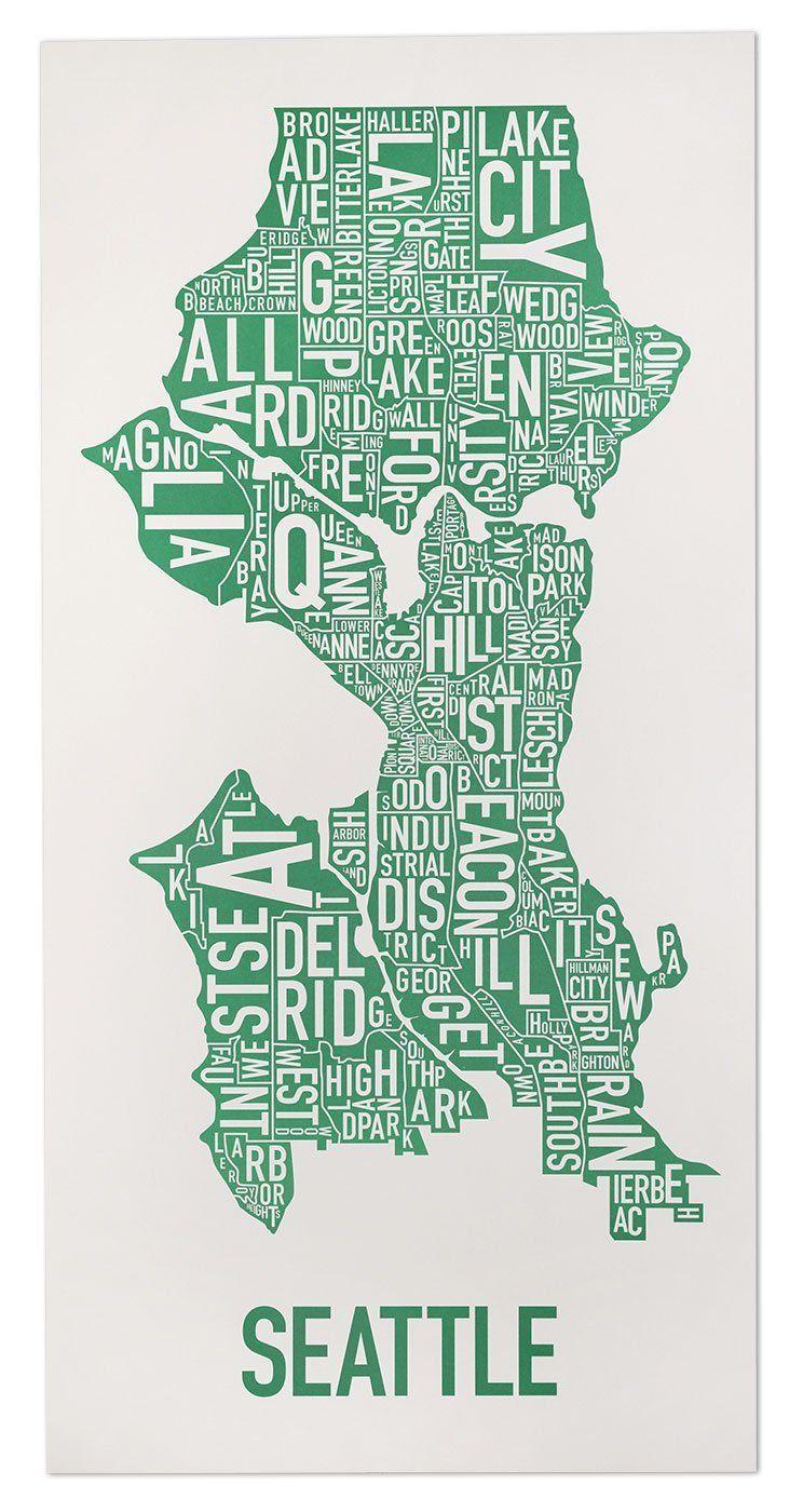 Seattle Neighborhoods Map Posters & Prints