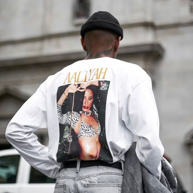 One in a million. Shop the Aaliyah 1995 Long Sleeve Tee, SKU #41304270. #UOMens @UrbanOutfittersMens  @david_beatz + @darion_famous
