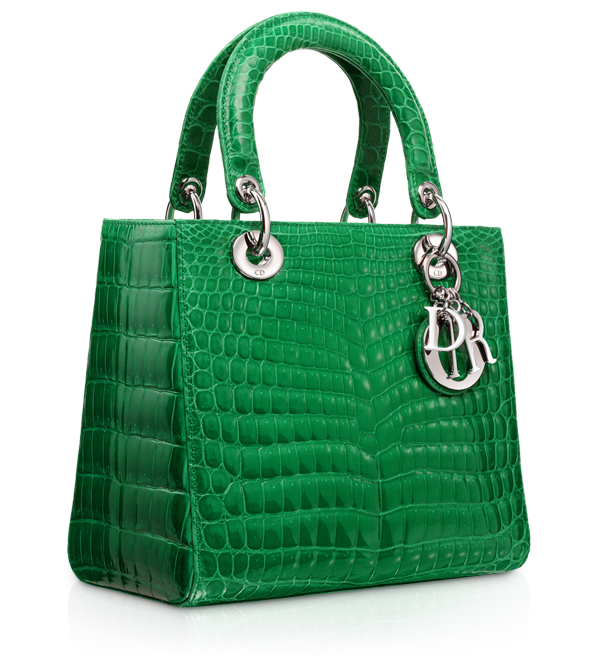 """LADY DIOR - Sac """"Lady Dior"""" glossy Vert Vif crocodile """"Lady Dior"""" bag."""