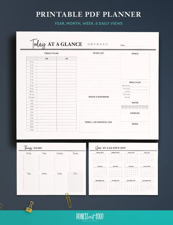 Printable Pdf Planner For 2020 2021 Day Week Month Etsy Work Planner Monthly Planner Template Productivity Planner