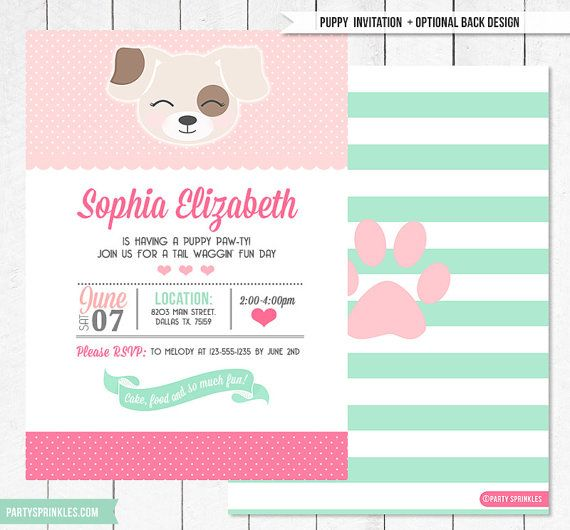 Personalized girls puppy dog party birthday invitation pink aqua pink mint kitten birthday invitation this delightful invitation is just what an animal loving birthday girl needs to have a party she will never filmwisefo