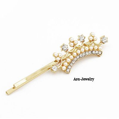 Glossy Gold Color Sweet Cute Crown Shape Alloy Hair clip hair claw  www.asujewelry.com