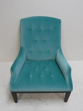 Fabiole Tufted Chair in Aqua Velvet Upholstery Available in our Palm Beach Location 561.805.8611 Matching Ottoman Available