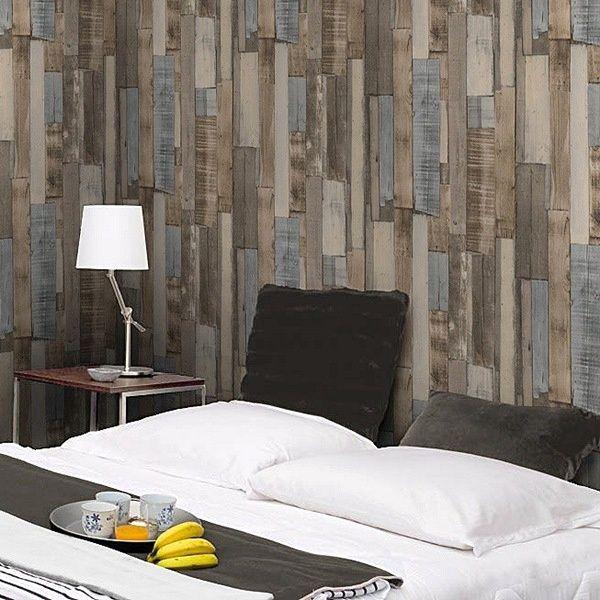 Papel pintado imitaci n madera decoraci n paredes for Papel pintado imitacion madera blanca