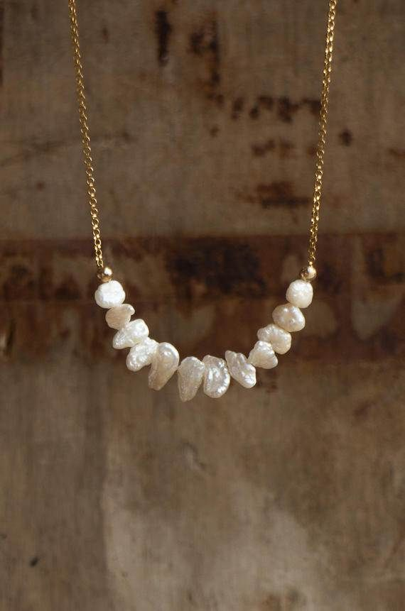 Keshi Pearl Necklace, June Birthstone Gift for Her
