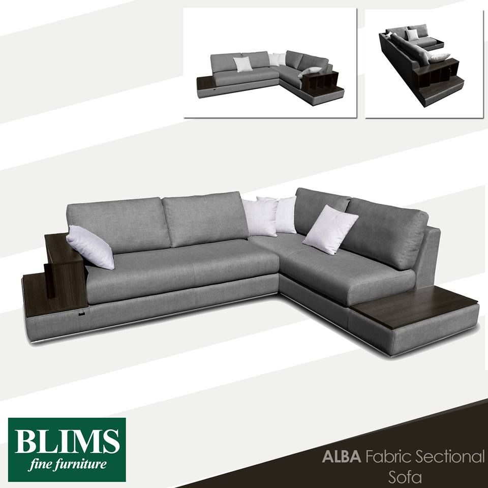 Simple Contemporary Functional This Fabric Sectional Sofa Features A Built In Wooden Side Table Couches Living Room Fabric Sectional Sofas Wooden Side Table