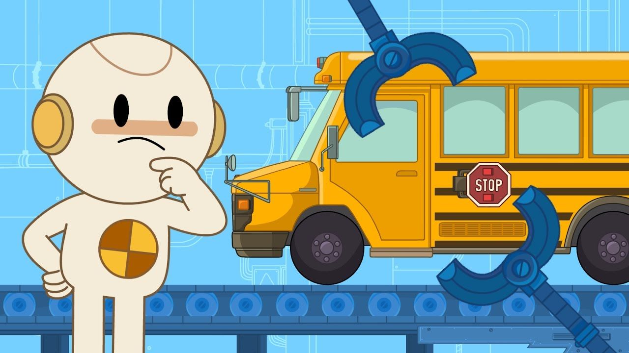 What Vehicle Is Big And Yellow Has Wheels That Go Round And Round And Is Being Built In Finley S Factory Today It S A Scho School Bus Cartoon Kids Simple Tv