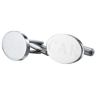 Zales Mens Oval Monogram Cuff Links in Sterling Silver (3 Initials) l149X