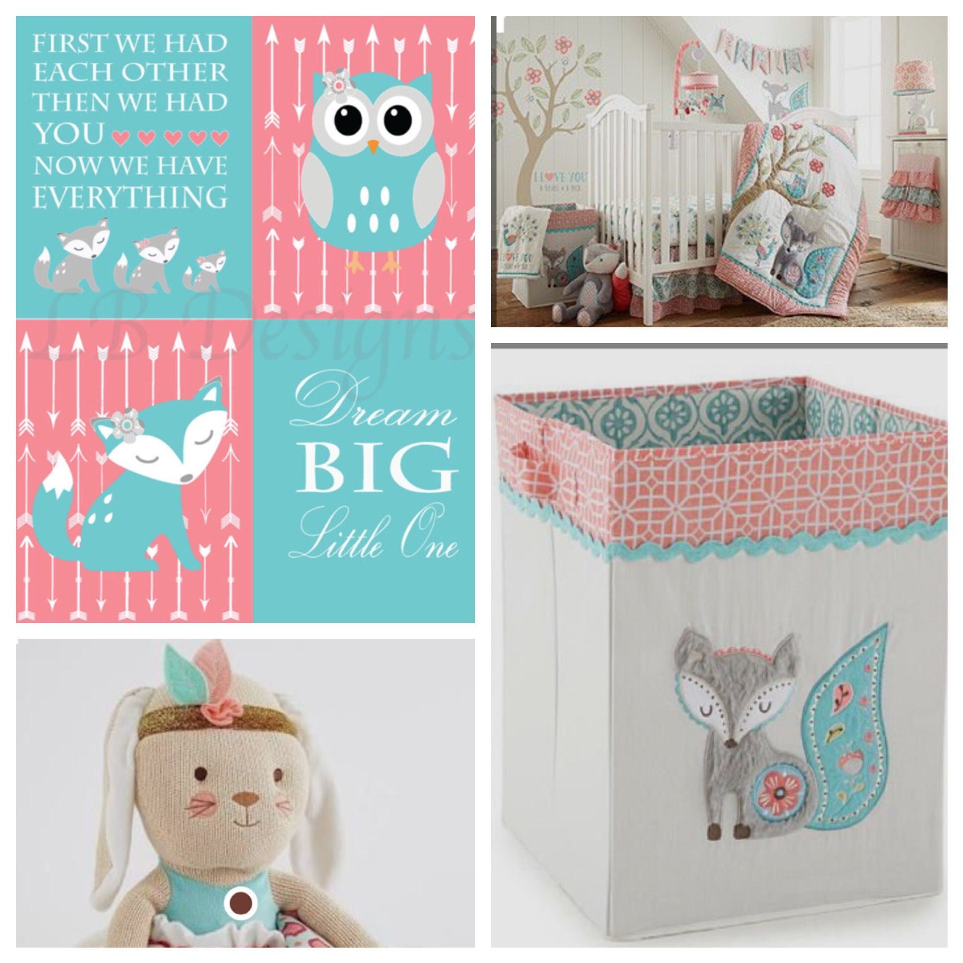 Crib for twins babies r us - Girl Woodland Nursery Levtex Baby Fiona Fox Coral And Teal Nursery Girl Fox