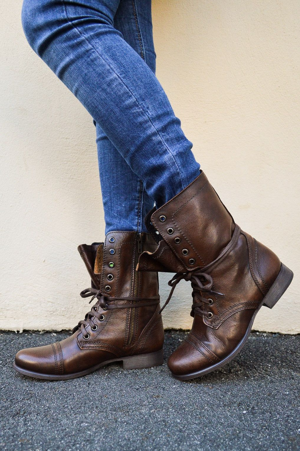 Brown leather steve madden troopa combat boots