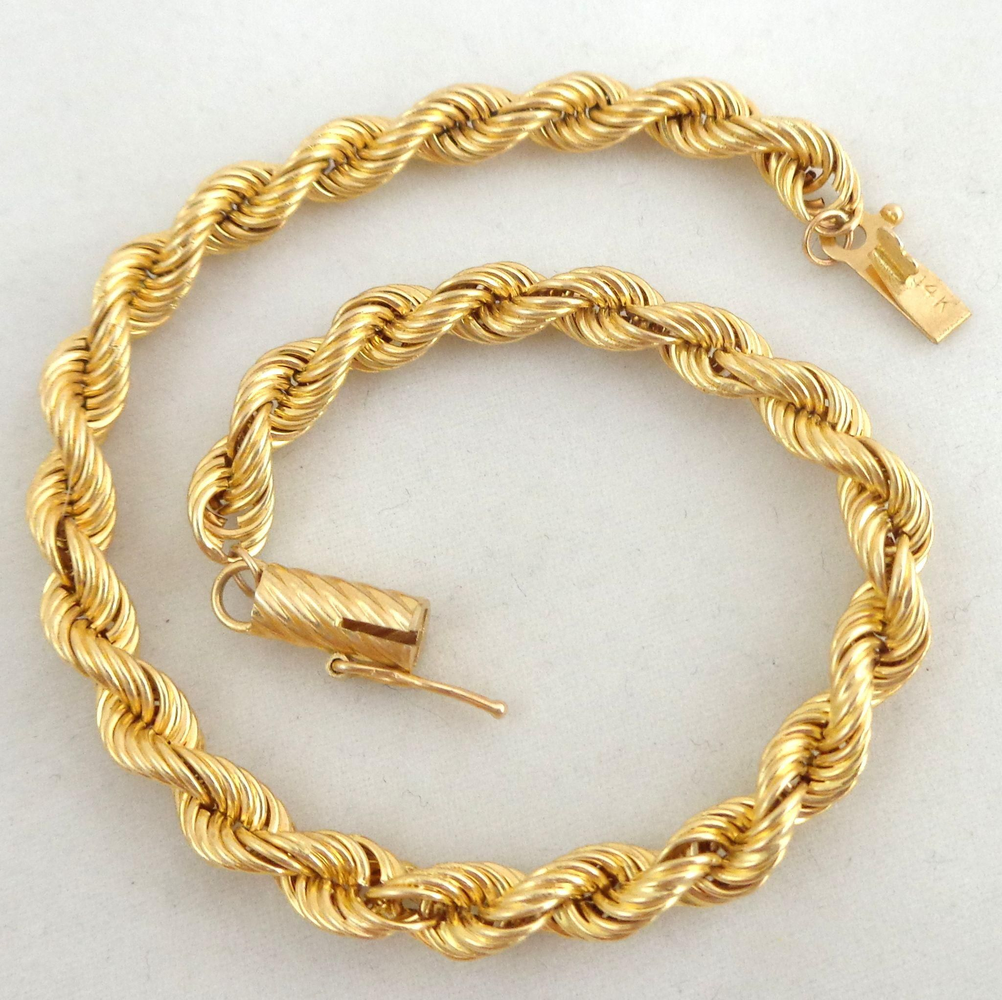 yellow bracelet bangles bangle in estate inches rope and inch gold
