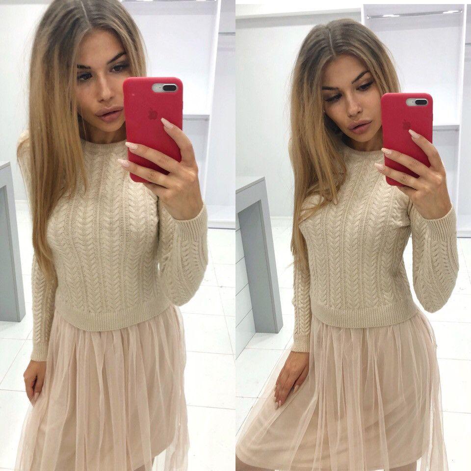 Продажа Модное платье   вязка, фатин   Китай 54-0153 760244031 оптом и в  розницу от производителя в интернет магазин женской одежды