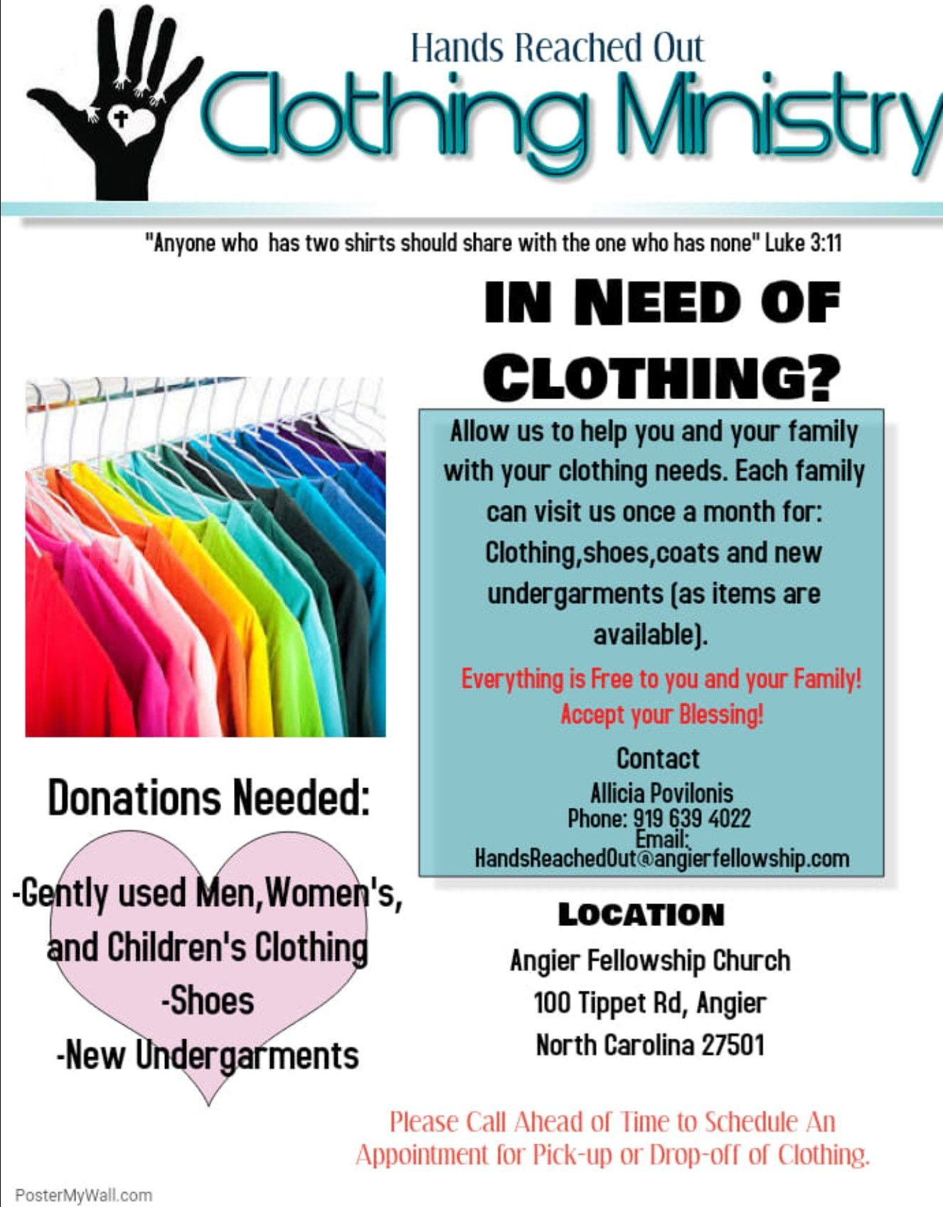 Clothing Ministry In Angier Nc Donate Clothing Purged From
