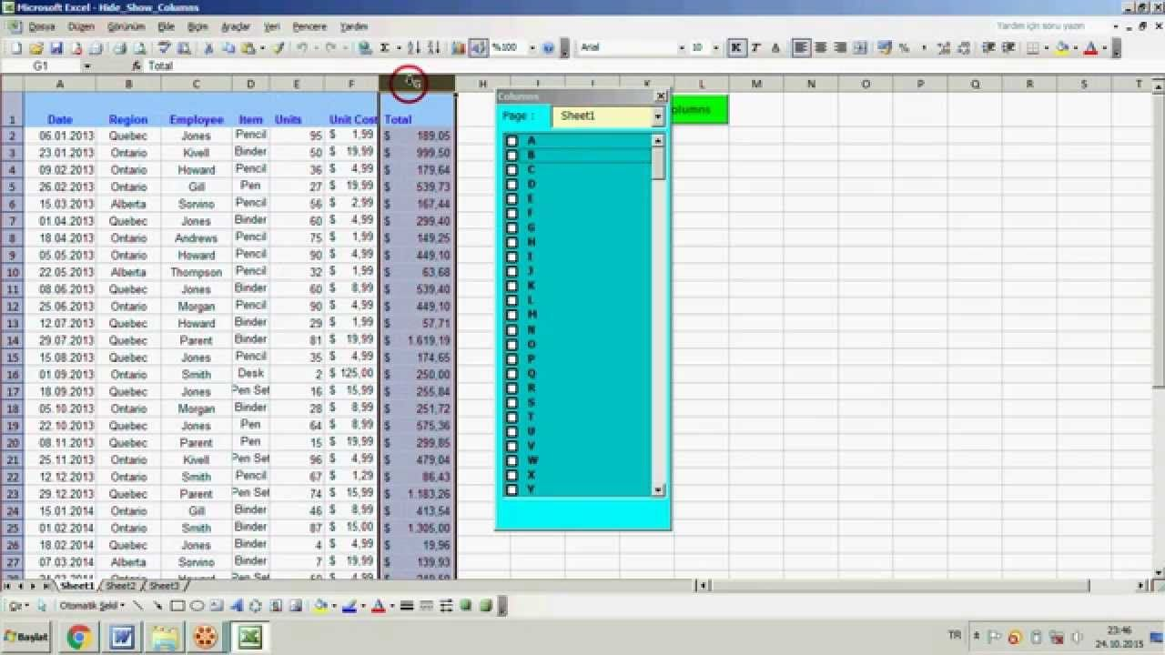 Workbooks unhide personal workbook : Excel : Hide & Unhide Columns With Userform A very useful ...
