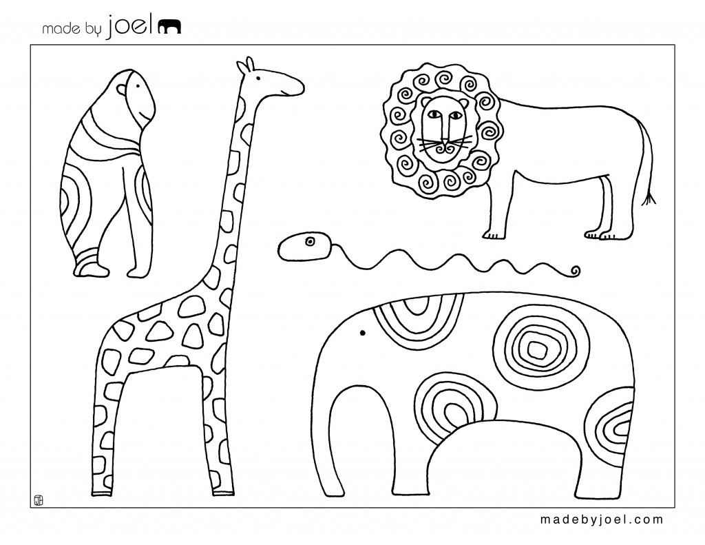 Gorilla Giraffe Lion Elephant And A Squiggly Snake