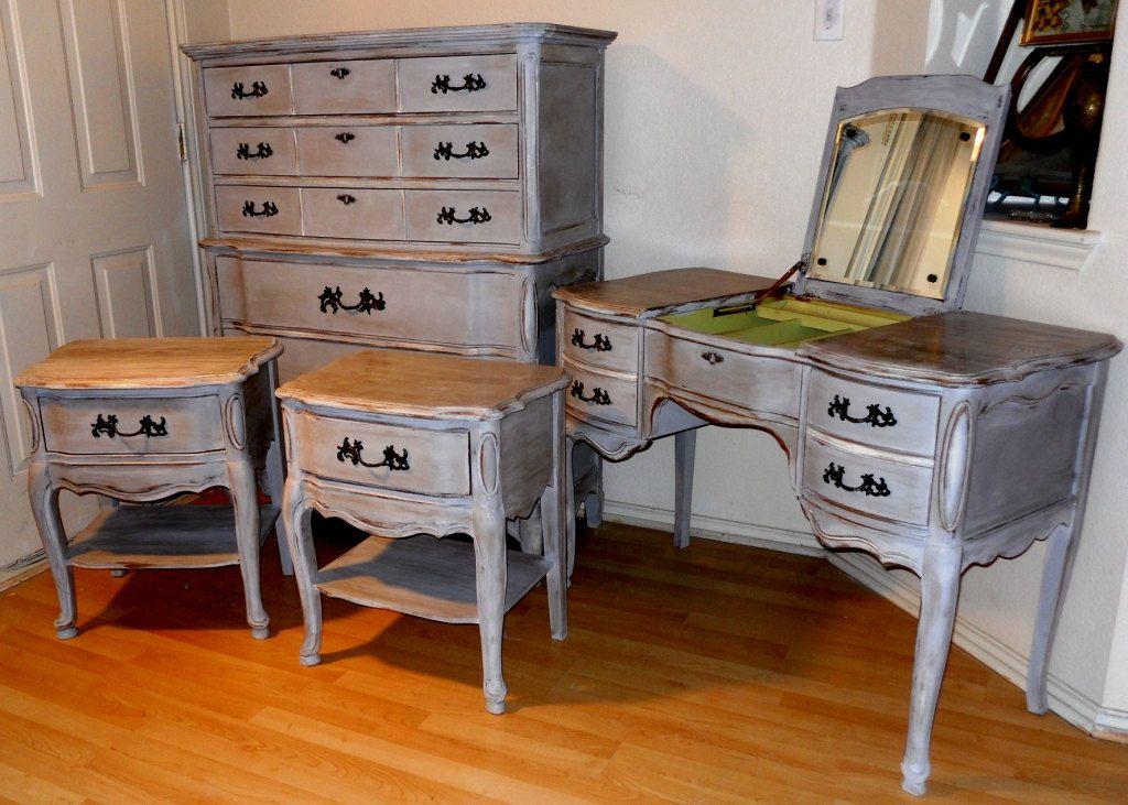 Vintage Bassett Bedroom Set French Provincial Distressed Paris Grey Tall Dresser Vanity 2