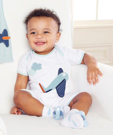 White Blue Lil Jet Setter Bodysuit Socks Baby Boy Gift Set Baby Boy Gifts Baby Aspen