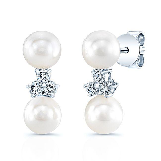 14k Gold Cultured Akoya Pearl 1/5ct TDW Diamond Earrings