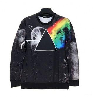 pink floyd sweatshirt pullover black Dark Side of the Moon